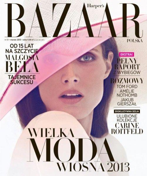 Małgosia Bela na okładce pierwszego numeru Harper's Bazaar Polska - marzec 2013