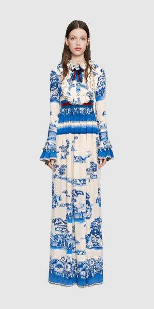 Gucci Cruise 2017 - niebieska sukienka