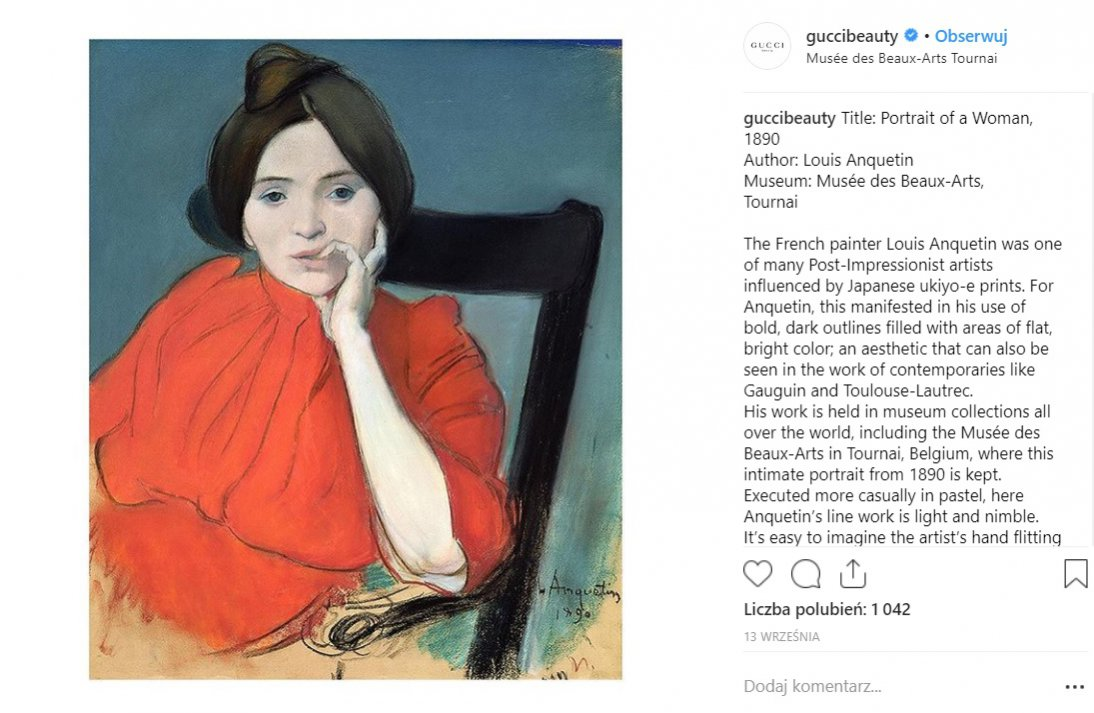 "Gucci Beauty na Instagramie - ""Portrait of a Women"" 1890"