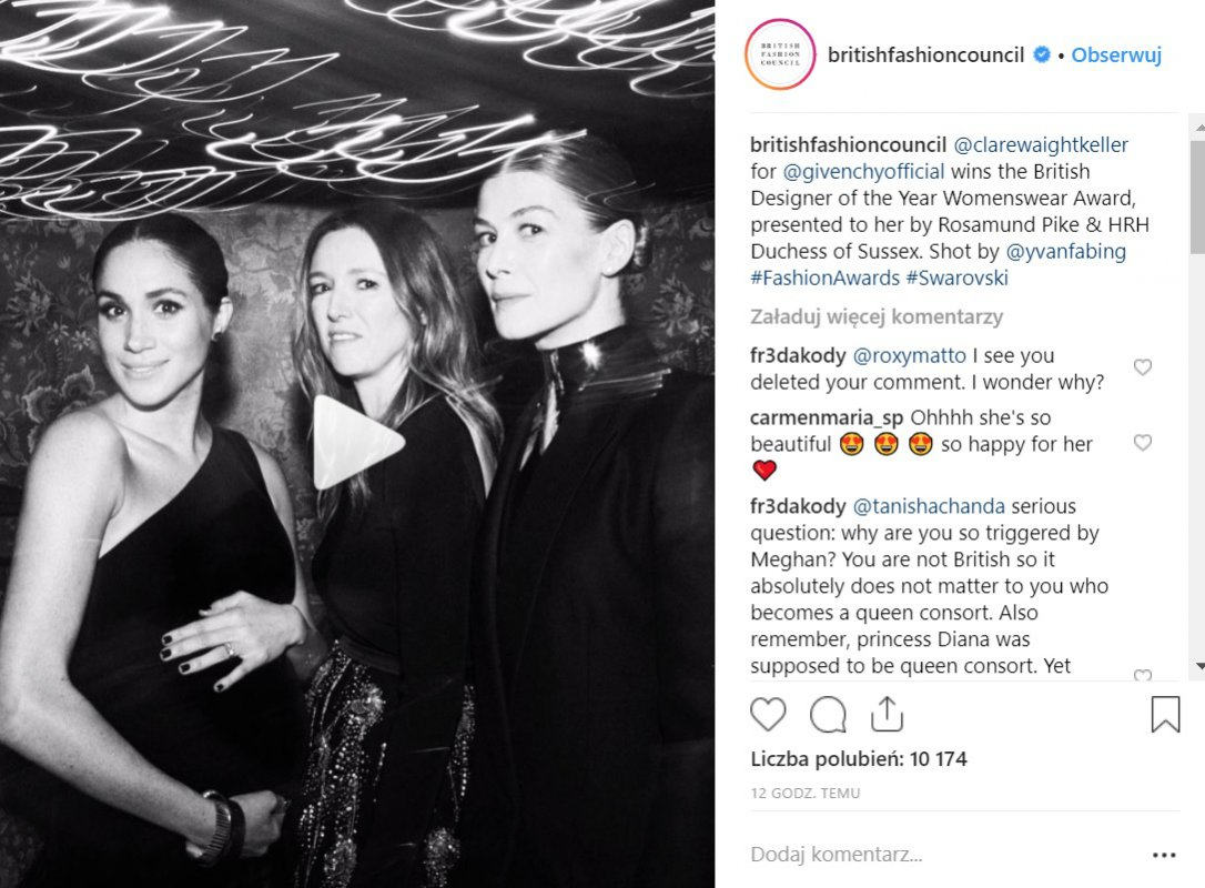 Meghan Markle, Clare Waight Keller i Rosamund Pike (British Fashion Awards 2018)
