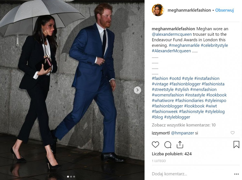 Meghan Markle w garniturze damskim - Alexander McQueen