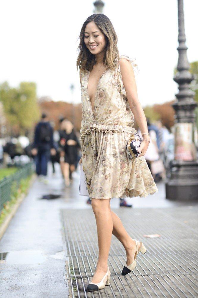 Aimee Song w romantycznej sukience