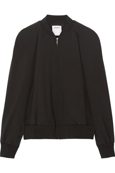 1. DKNY, Cape-effect wool-blend bomber jacket, cena ok. 2535 zł