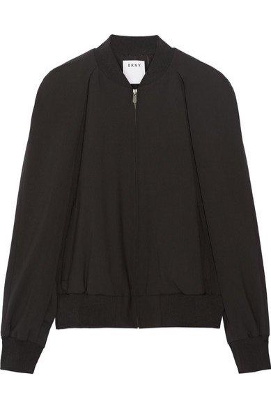 1. DKNY, Cape-effect wool-blend bomber jacket, cena ok. 2535 zł