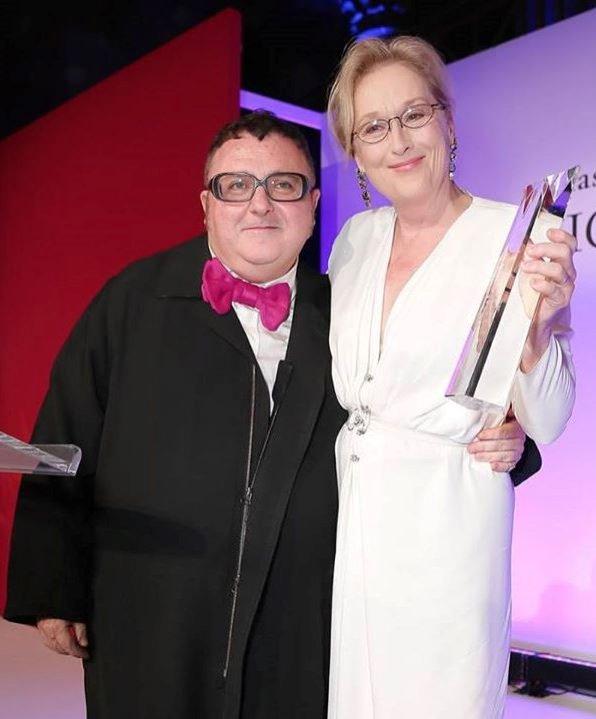Alber Elbaz z Meryl Streep podczas Fashion Group International`s Night of Stars