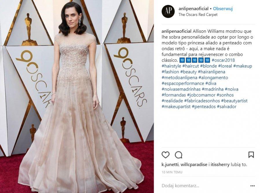 Oscary 2018: makijaż i retro fale u Allison Williams