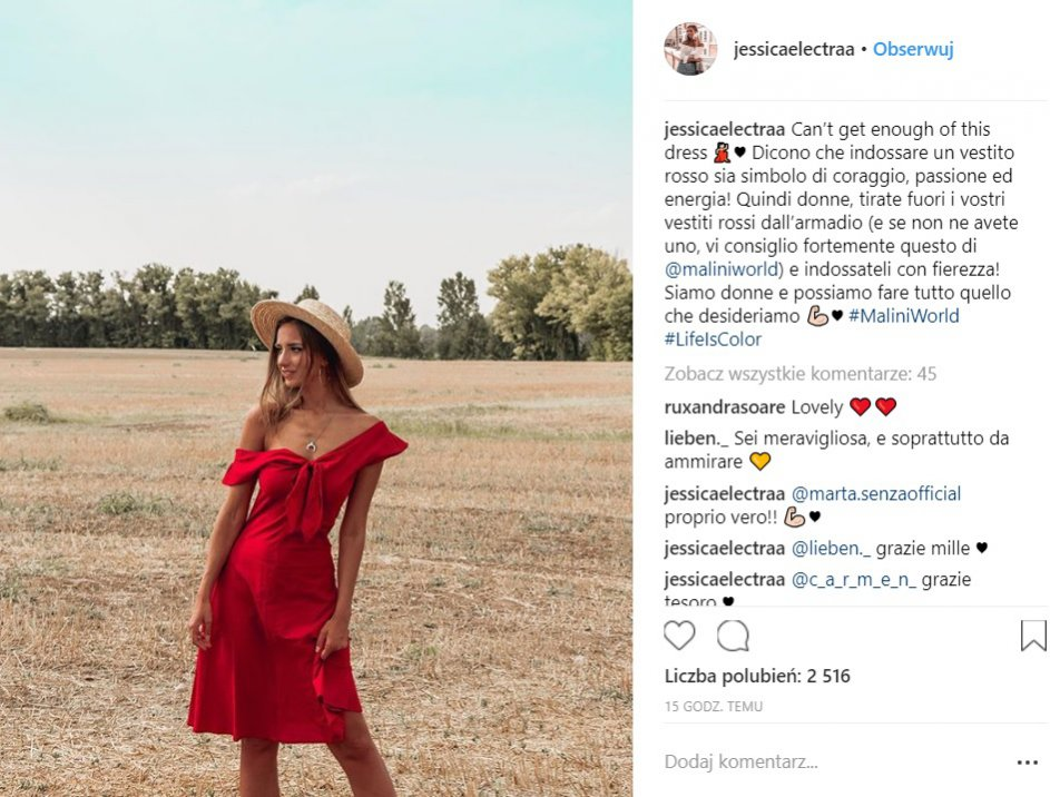 Instagram: czerwone sukienki