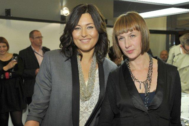 Beata Sadowska i projektantka Anna Orska na otwarciu butiku ORSKA Moko