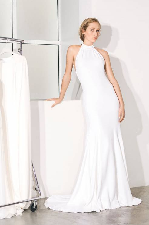 Suknia z dekoltem typu halter - moda ślubna Stella McCartney