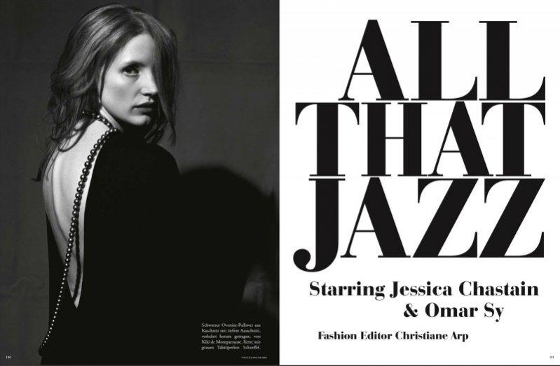 Jessica Chastain i Omar Sy w styczniowym Vogue Germany