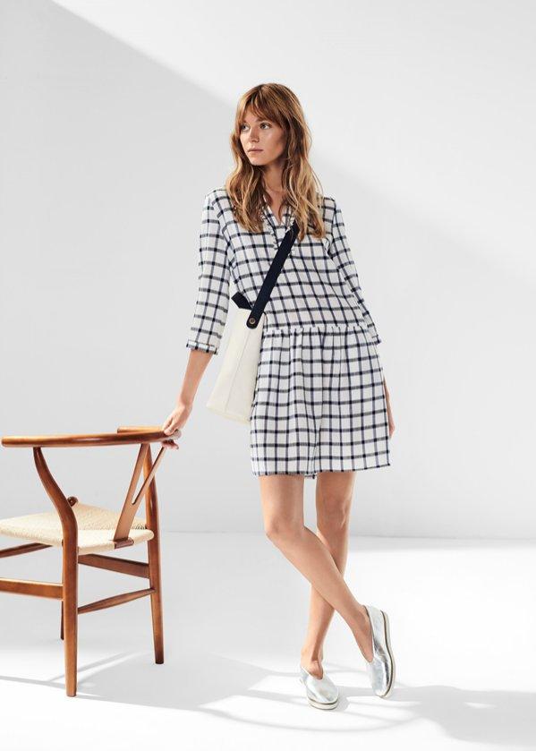 Sukienka w kratkę z rękawem, Solar, 399 pln