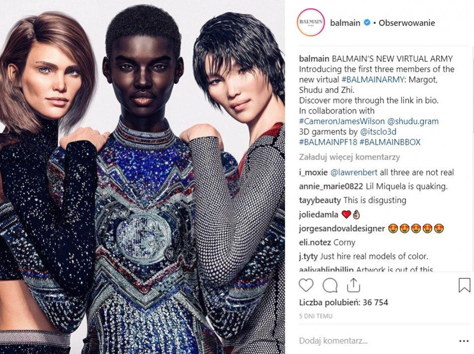 Balmain - kampania z cyfrowymi modelkami na sezon jesień zima 2018/19