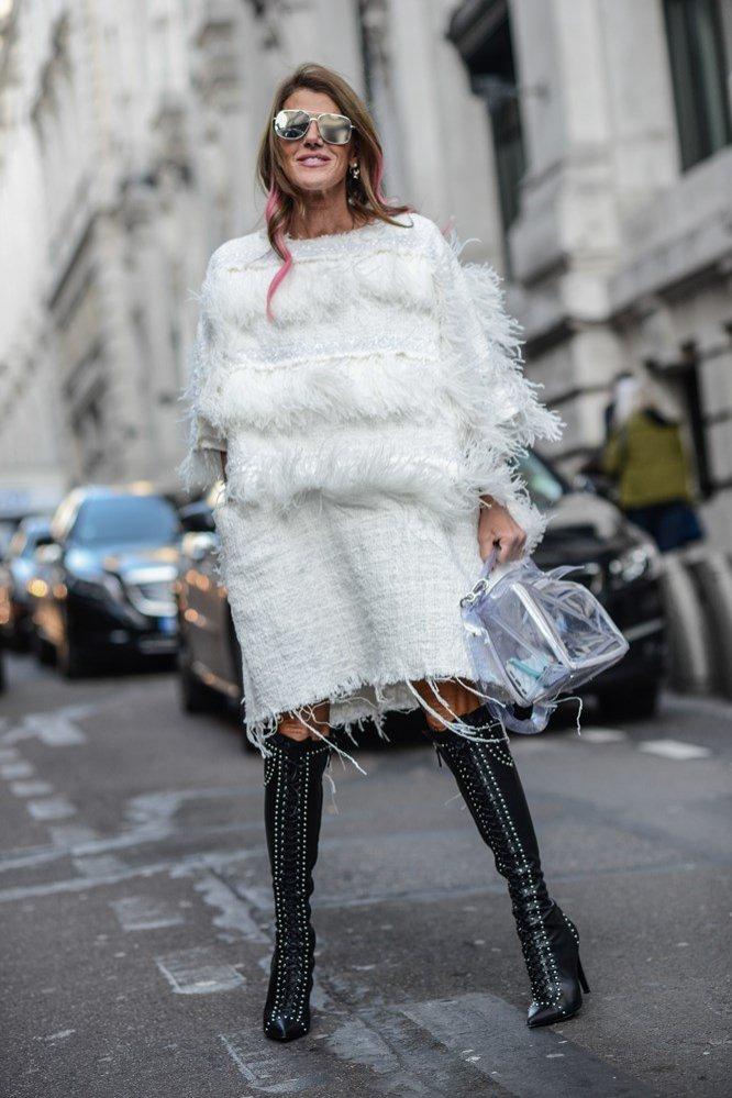 Anna Dello Russo w białej sukience