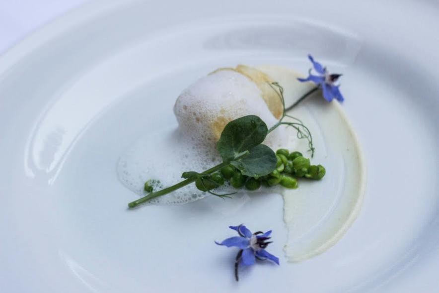 Dorsz bałtycki z puree z selera, młodym groszkiem i palonym masłem - restauracja Dekant