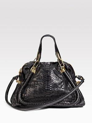 Czarna torba ze skóry pytona Chloé Paraty Bag, ok. 9 250 PLN