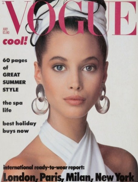 Christy Turlington na okładce Vogue UK - lipiec 1986