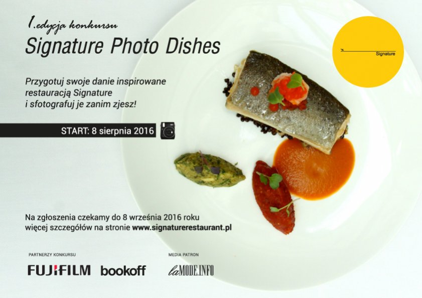 Plakat konkursu Signature Photo Dishes
