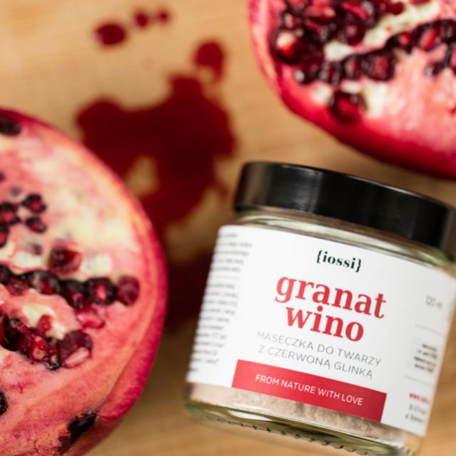 Maseczka IOSSI granat i wino z czerwoną glinką