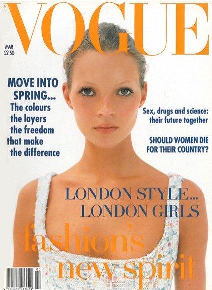 Kate Moss na okładce Vogue UK - marzec 1993