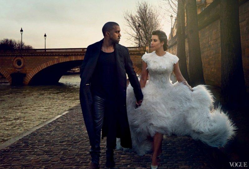 1. Kim Kardashian i Kanye West w okładkowej sesji dla kwietniowego Vogue US