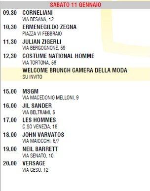 1. męskie kolekcje Milan Fashion Week - harmonnogram pokazów