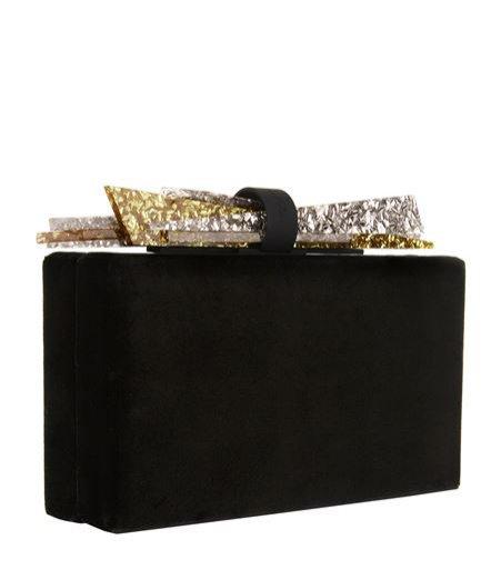 Czarna kopertówka z atłasu ze złotym akcentem, Edie Parker, 6,415 pln