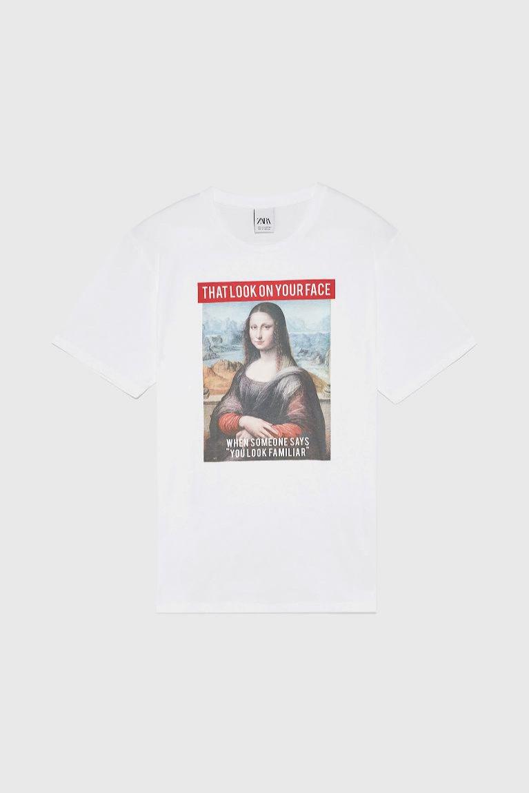 Biały t-shirt Zara Man z obrazem Mona Lisa