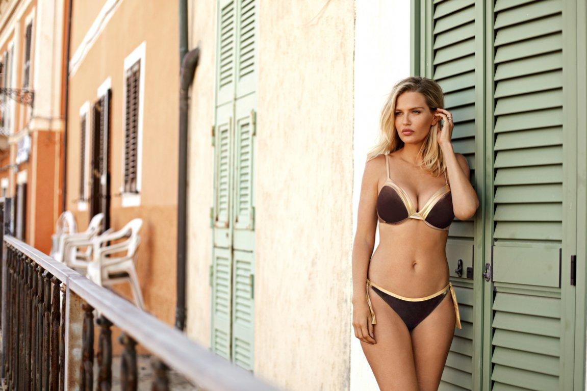 Brązowo-złoty kostium kąpielowy Gatta