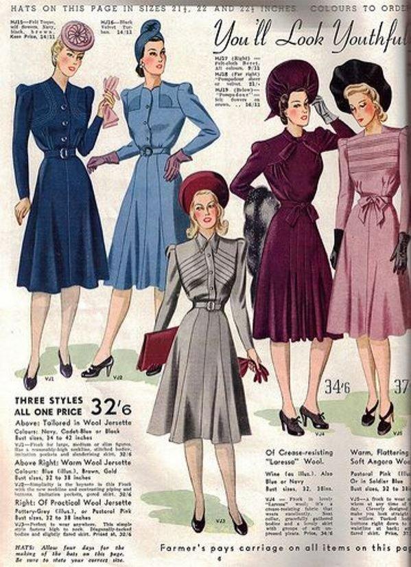 Moda damska lat 40. - sukienki dzienne