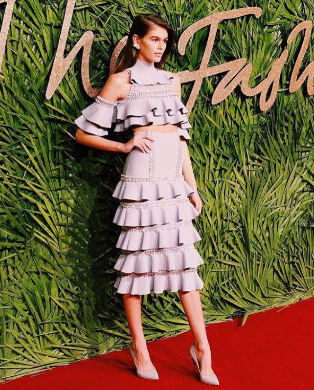 Kaia Gerber - sukienka i buty od Ralph & Russo Ready-to-Wear