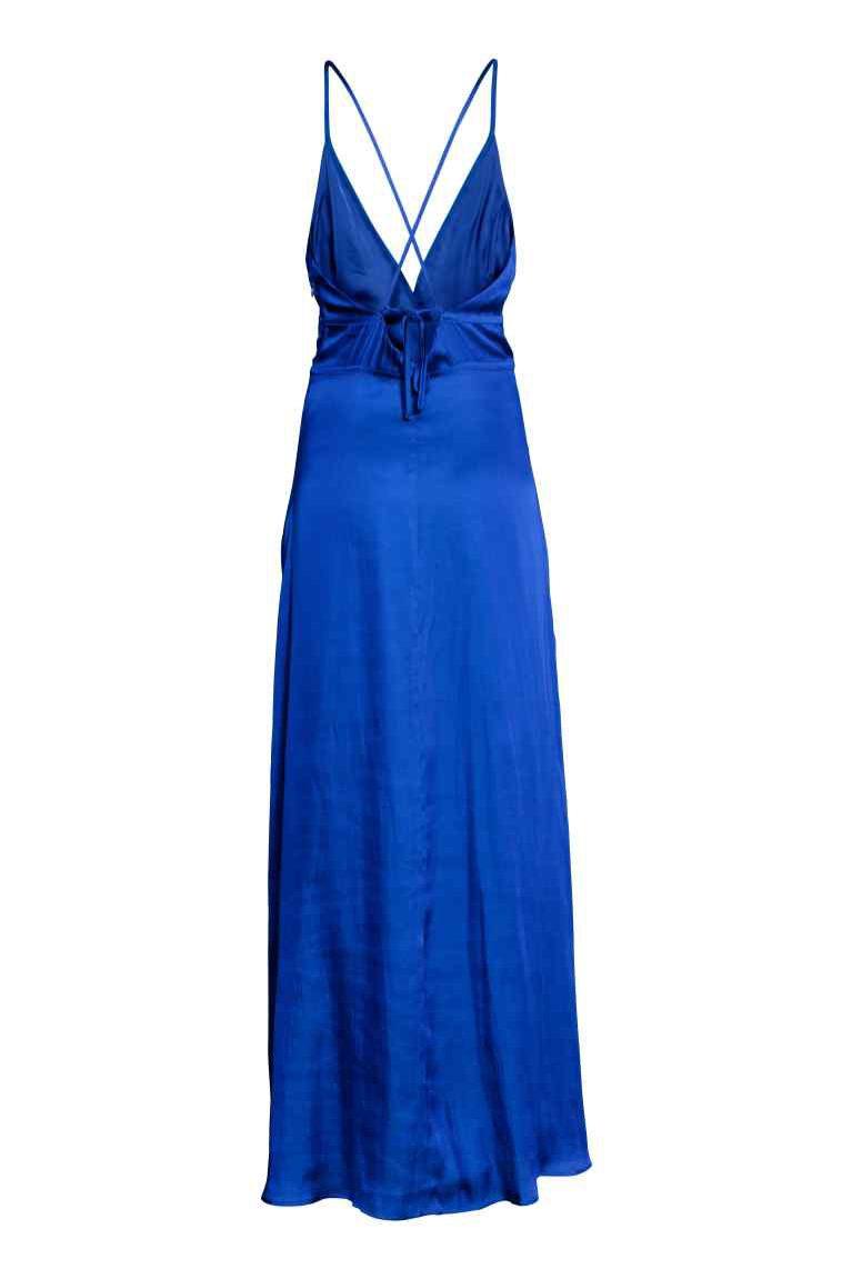 Satynowa sukienka, niebieska, H&M, 229 pln