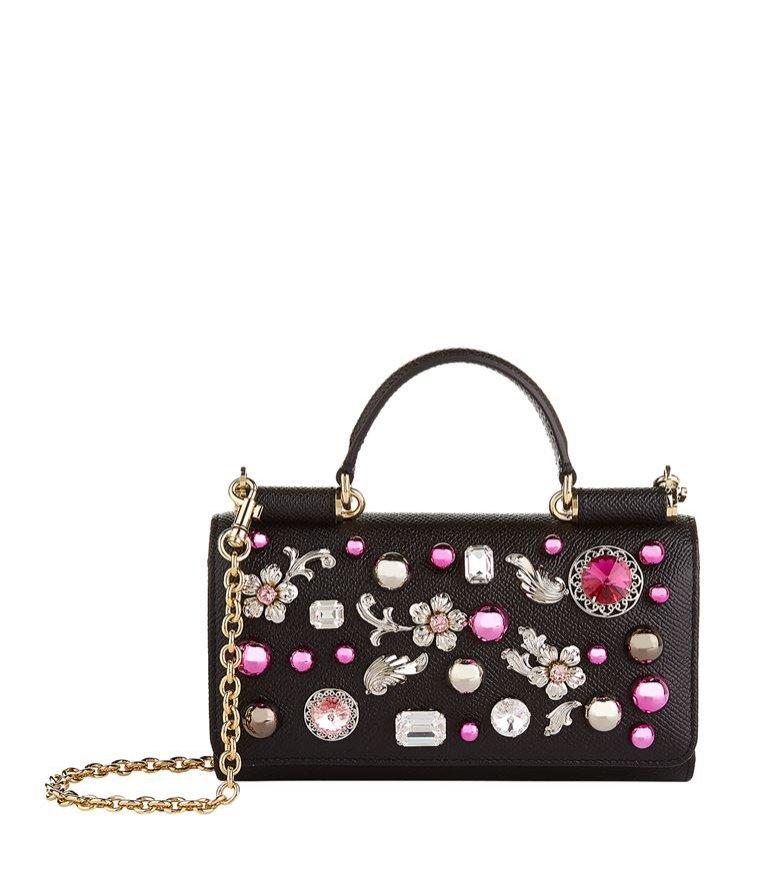 Zdobiona torebka na uchwycie, czarna, Dolce&Gabbana, 5000 pln