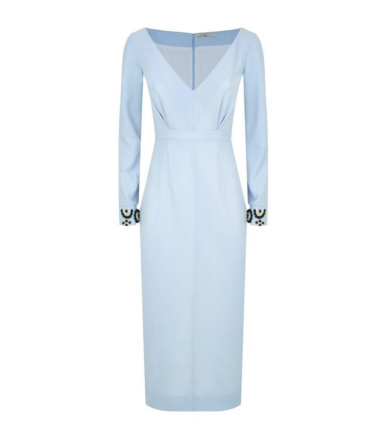 Niebieska sukienka z dekoltem w serek, Emilia Wickstead, 6500 pln