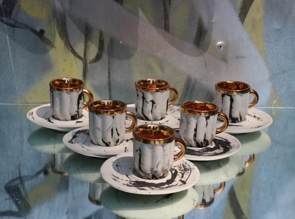 Filiżanki ze spodkiem Mosko Ceramics
