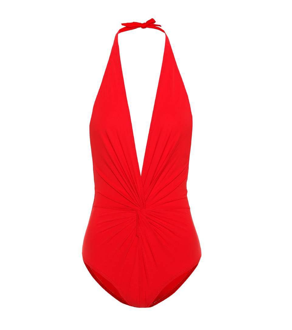 Jednoczęściowy kostium kąpielowy w kolorze czerwieni, Karla Colleto/Mytheresa, 215 euro