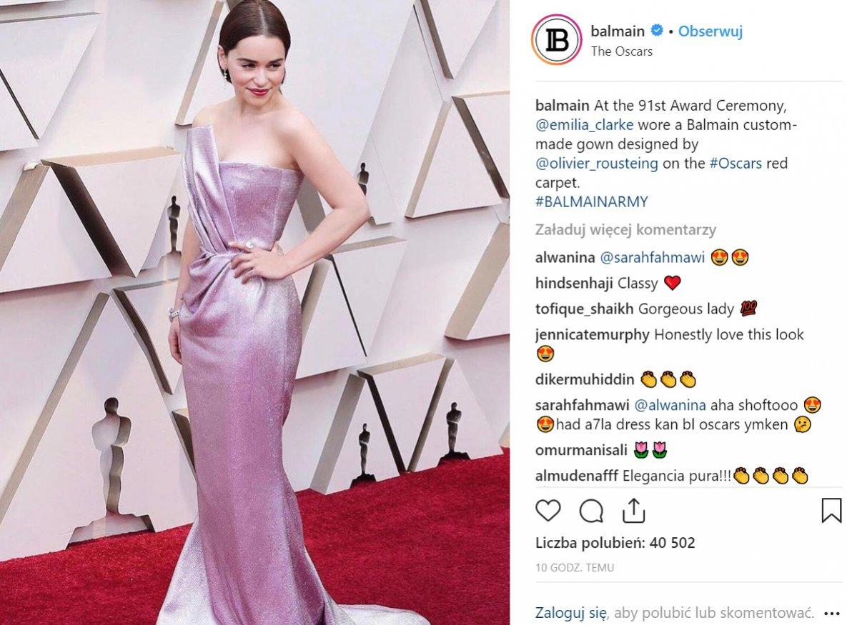 Oscary 2019: Emilia Clark w sukni Balmain