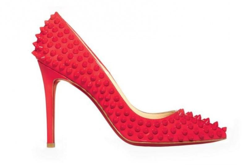 Louboutin red studded patent leather pumps