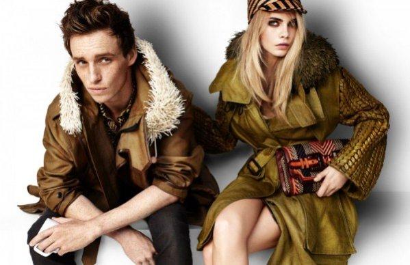 Cara Delevingne i Eddie Redmayne w kampanii reklamowej Burberry na sezon wiosna lato 2012