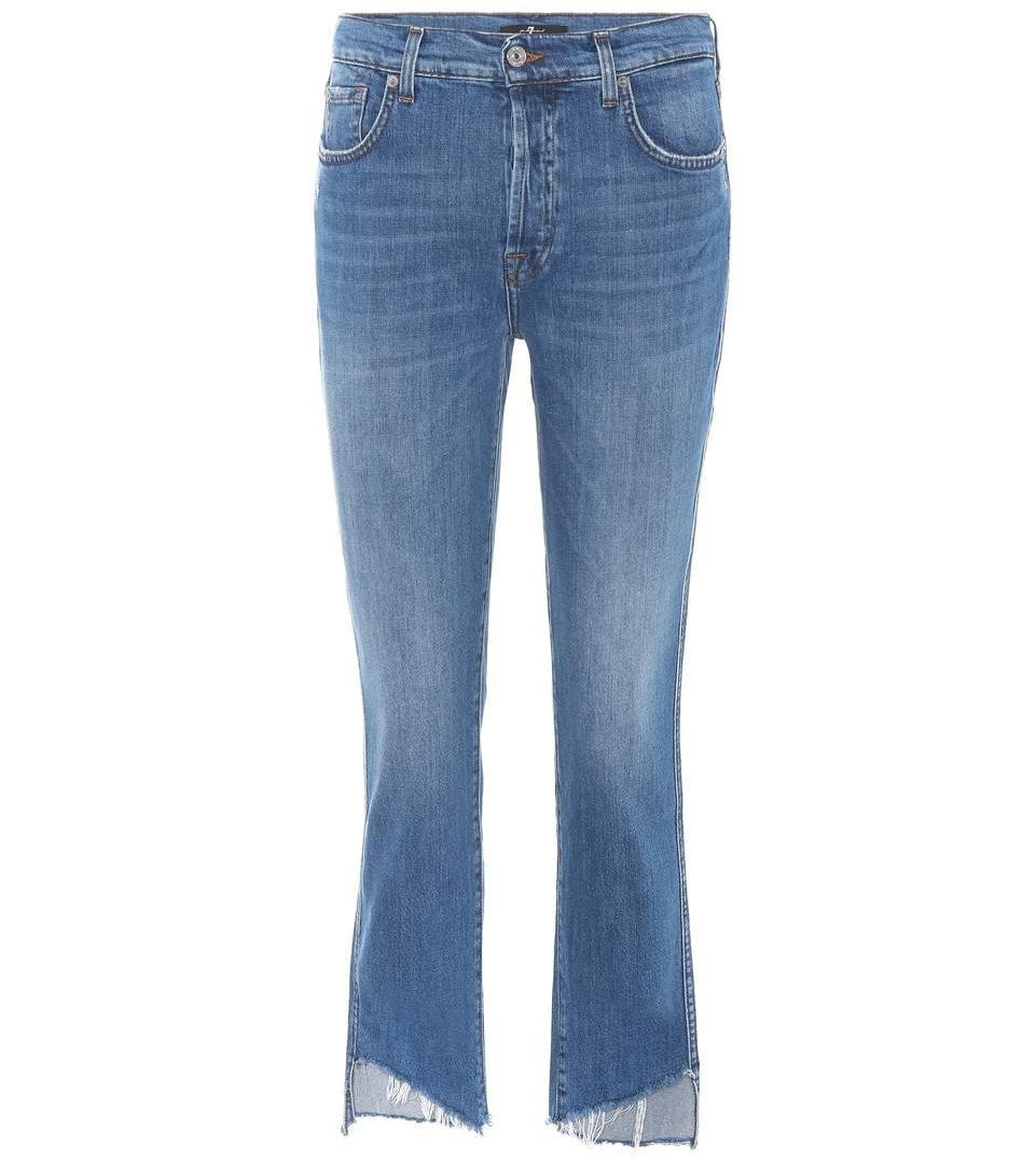 Jeansy z asymetryczną, postrzępioną nogawką, 7 for all Mankind, 240 euro
