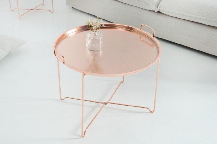 Stolik tacowy w odcieniu różowego złota, 9 Design, 409 zł