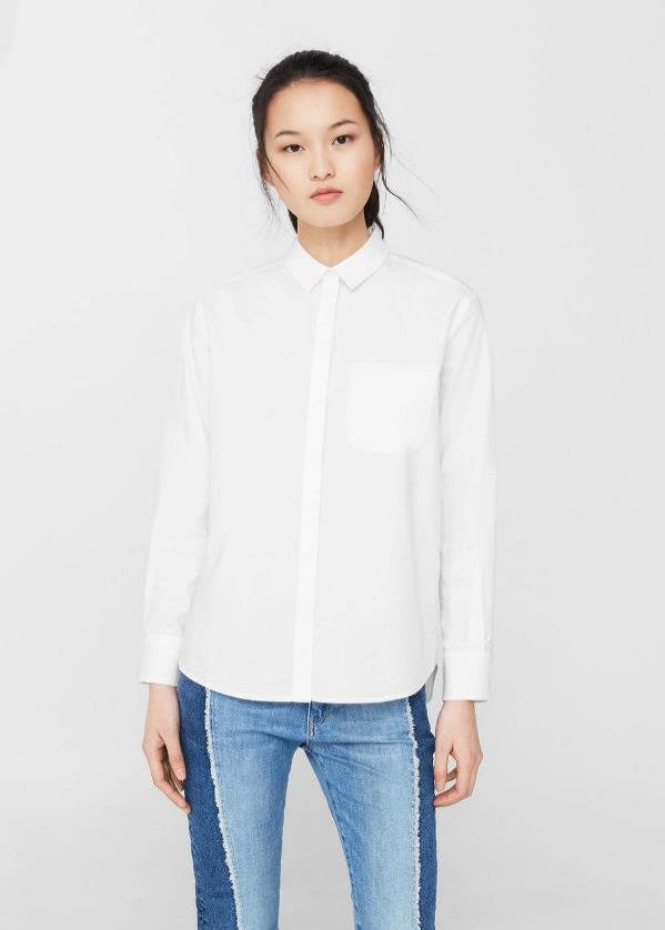 Biała koszula z rozcięciem, Mango, 99pln