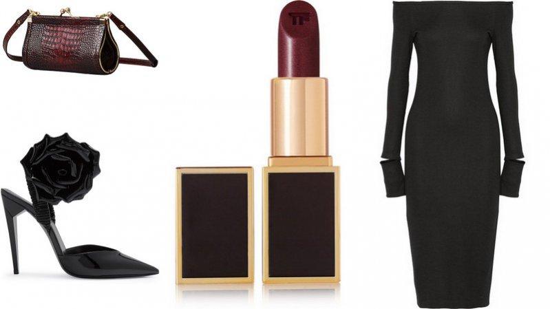 tylizacje z elementami kolekcji Erdem x H&M: torebka, Erdem x H&M; buty, Saint Laurent; szminka, Tom Ford; sukienka, Helmut Lang