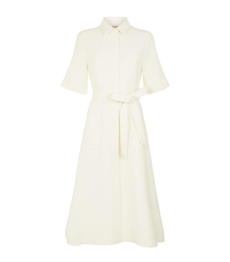 Kremowa sukienka typu szmizjerka o długości midi, Burberry, 6500 pln