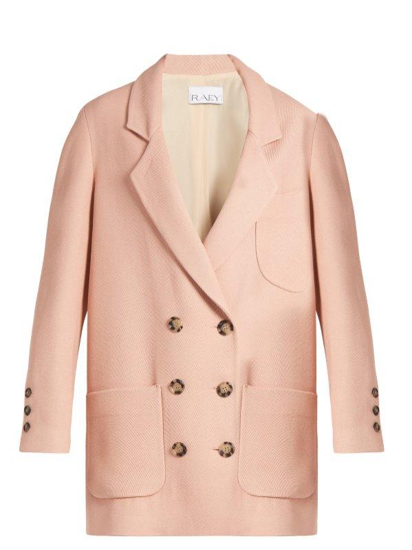Dwurzędowy blazer w kolorze pudrowego różu, Raey, 425 funtów