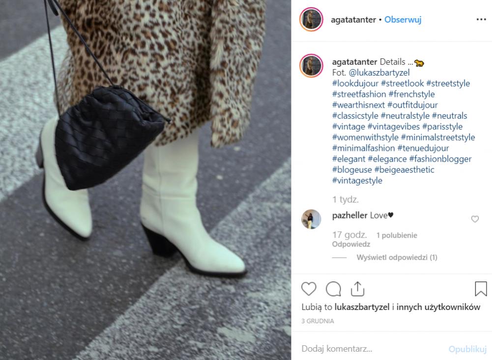 Czarna torebka na cienkim pasku - Agata Tanter, redaktor naczelna Lamode.info