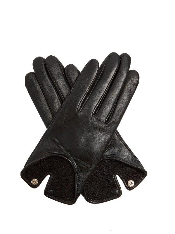 Skórzane rękawiczki z kokardką, Agnelle, 127 euro