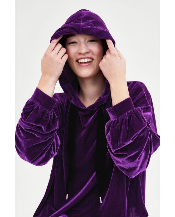 Aksamitna bluza w fioletowym kolorze, Zara, 69 pln