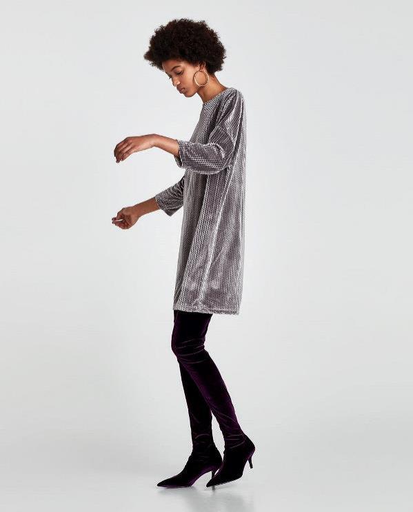Aksamitna sukienka z rękawem, Zara, 59 pln