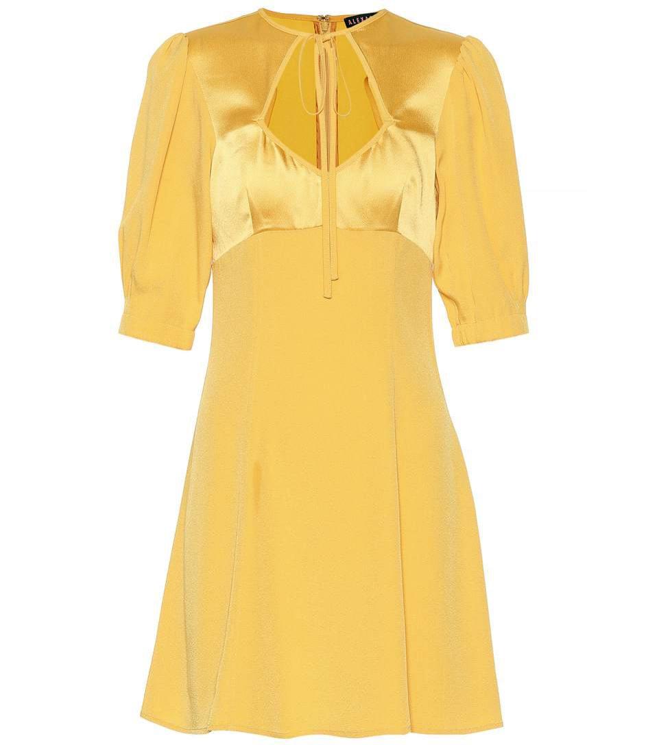 Żółta sukienka z satyną, Alexachung/Mytheresa, 400 eur