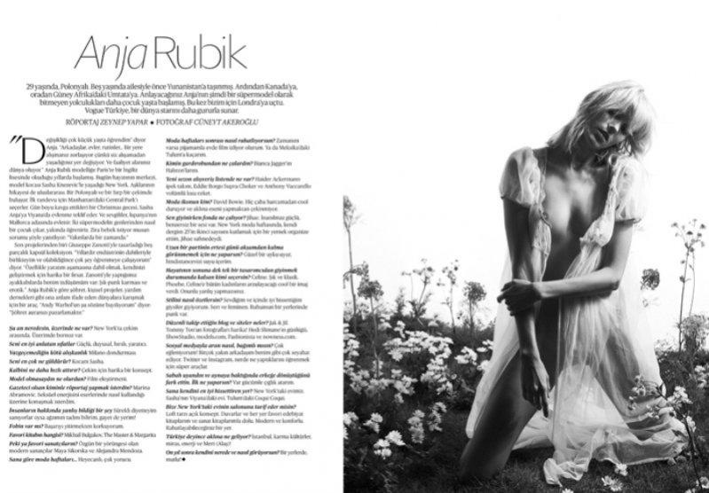 Anja Rubik w sesji dla Vogue Turkey
